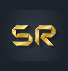 Sr - gold logotype elegant golden template vector