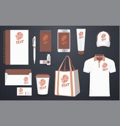 stationery branding corporate identity mockup vector image