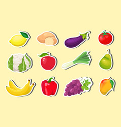 Stickers with fruits and vegetables vector
