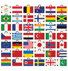 travel suitcases with flags various countries vector image