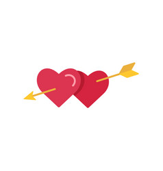 two hearts pierced with arrow vector image