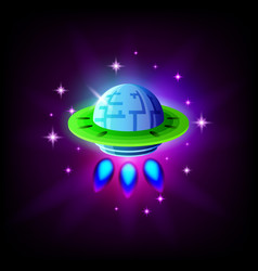 ufo alien spaceship on background space vector image