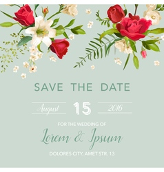 Wedding Invitation Card with Lily and Roses vector