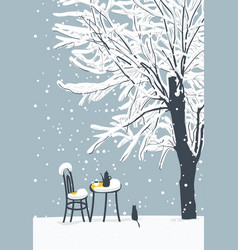 Winter landscape with street cafe and cat vector