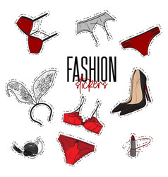 Woman trendy fashionable stickers with bra vector