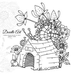Zentangl dog house in flowers vector