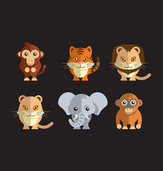 a cute exotic wild animals vector image