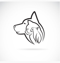 a dog cat and bird on white background logo pet vector image vector image