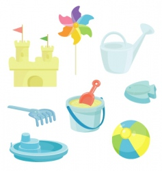 beach toys icons set vector image vector image