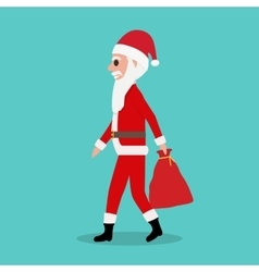 Cartoon Santa Claus rides with empty bag gifts vector image vector image