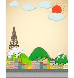 City scene with buildings and street vector image vector image