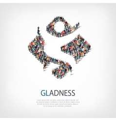 gladness people sign 3d vector image
