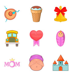 loving mom icons set cartoon style vector image