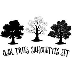 Oak Trees Black Silhouettes vector image vector image