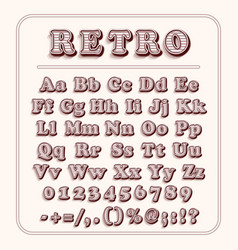 retro font on light red background the alphabet vector image