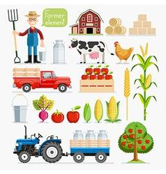 Set of farmer element Farmer and Farm animals vector image