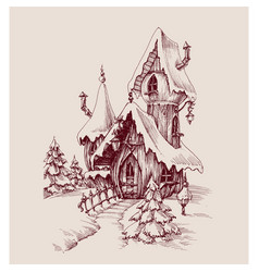 snow castle drawing fantasy house vector image