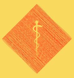 symbol of the medicine red scribble icon vector image vector image