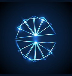 abstract background with blue neon triangles vector image