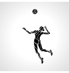 Female volleyball player stylized silhouette vector