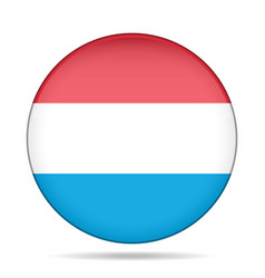 flag of luxembourg shiny round button vector image