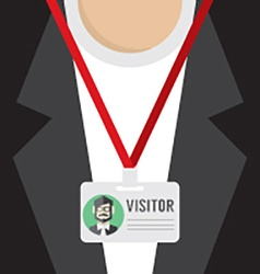 Flat Design Visitor Pass vector image