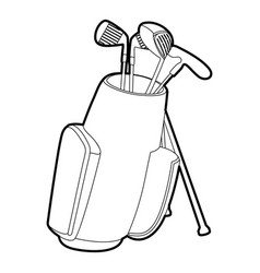 golfing bag icon outline style vector image