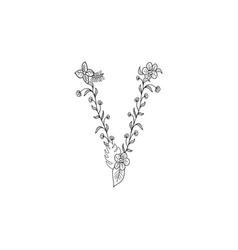 letter v floral ornament vector image