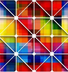 Rainbow pixel background with net seamless pattern vector image