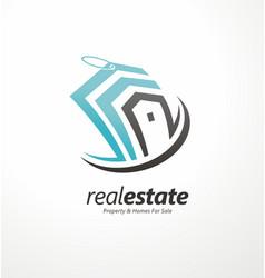 real estates business creative logo design concept vector image vector image