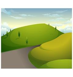 Green mountains blue sky vector image