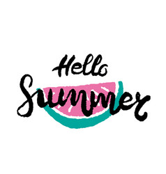 hand drawn lettering - hello summer vector image