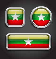 Myanmar flag glass buttons vector image vector image