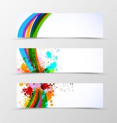 Set of header banner dynamic wave design vector image