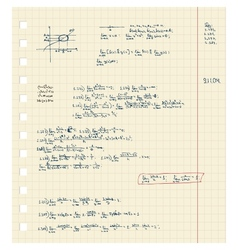 Sheet of notebook with maths lecture vector