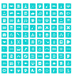100 student icons set grunge blue vector