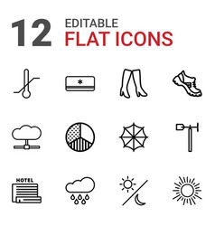 12 weather icons vector image