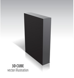 3d black cube isolated on white background vector image