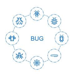 8 bug icons vector