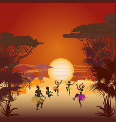 African sunset with dancing natives in ethnic vector