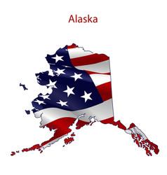 Alaska full american flag vector