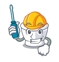 Automotive mortar mascot cartoon style vector
