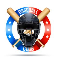 Baseball catcher mask sign vector