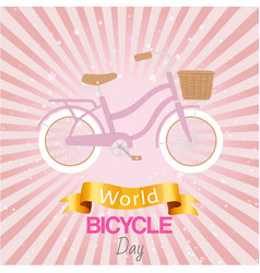 bicycle world day poster at bright backgrond vector image