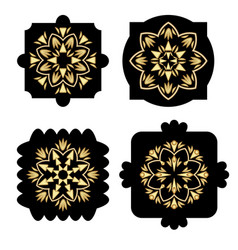 Black shapes with golden antiquarian geometric vector