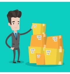 Businessman checking boxes in warehouse vector