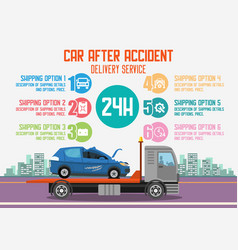 Car after accident delivery service vector