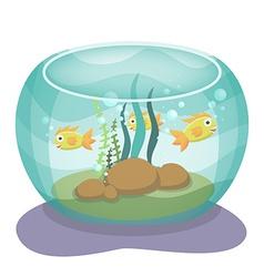 Cartoon aquarium with fishes vector image