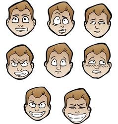 Cartoon emotional faces male vector