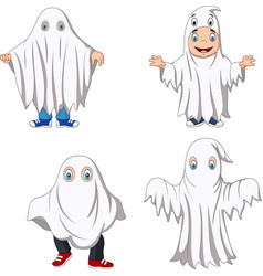 cartoon kid with ghost costume collection vector image